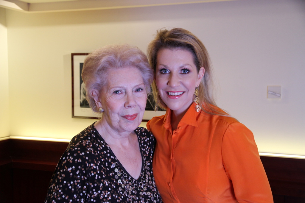 With the divine Dame Janet Baker, after our video interview together.  I will never forget her description of being a