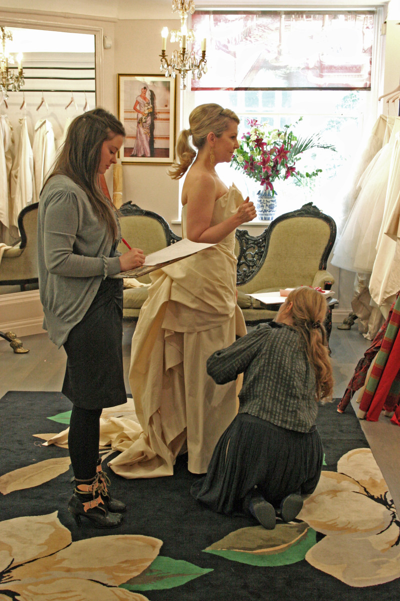 In for a fitting at Vivienne Westwood's shop, you can see the early stages of