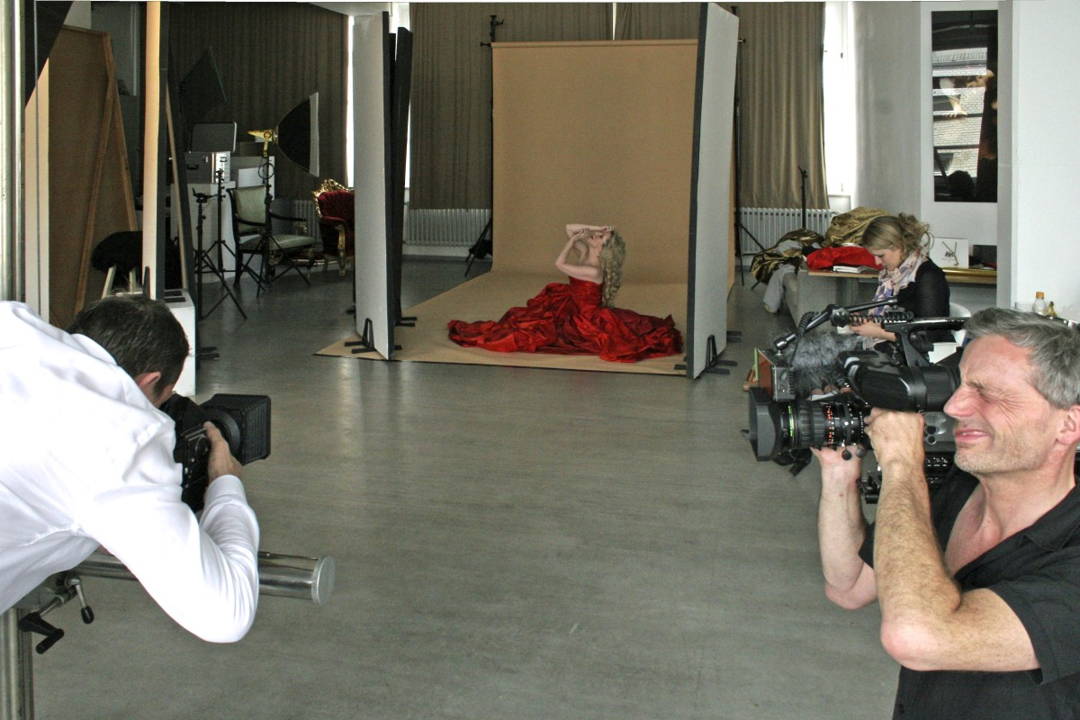 The photoshoot was a chaotic day, as there were 2 different video cameras, a sound man, our actual photographer, Josef Fischnaller, and Vivienne Westwood's representative Diane Rakowski.  I simply tried to stay out of the way! ©Ralf Pleger